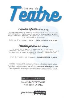 cartell classes de teatre grup trapelles